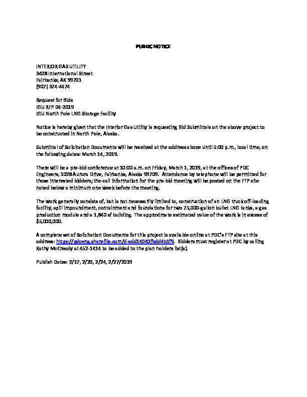 IGU NP LNG Project Legal Notice