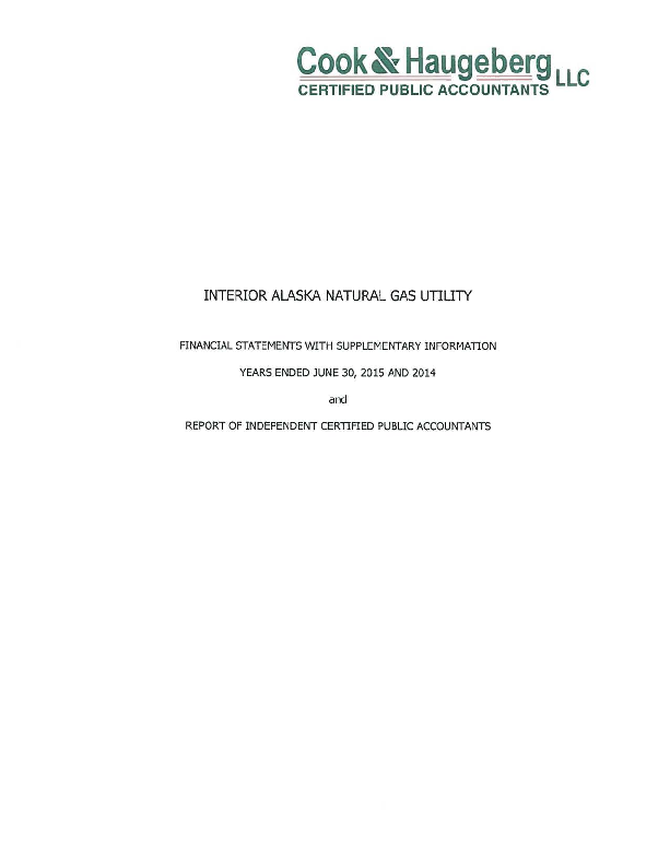INTERIOR ALASKA NATURAL GAS UTILITY - FINANCIAL STATEMENTS WITH SUPPLEMENTARY INFORMATION - YEARS ENDED JUNE 30 2015 AND 2014.pdf